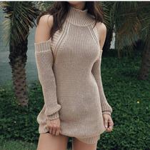 Mini Vestido Tricot Mousse Gola Alta Com Ombro Vazado