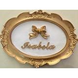 Quadro Letra Personalizado Porta Maternidade Quarto Dourado