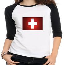 Camiseta Raglan Bandeira Suiça - Feminina