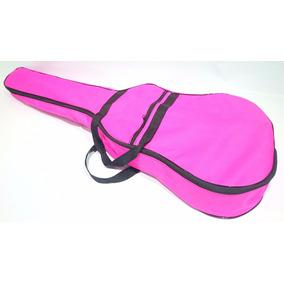 Bag Para Violão Folk Nylon 600 Impermeável Rosa