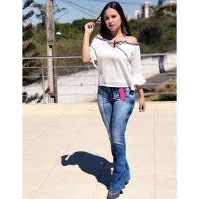 Calça Jeans Flare Cintura Alta Boca De Sino