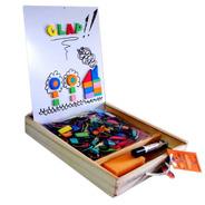 Clap Pizarra Doble Magnética Y De Dibujo Con Caja De Madera