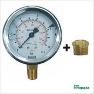 Manômetro De Pressão Com Glicerina 0 A 10 Bar + Bucha De 1/2