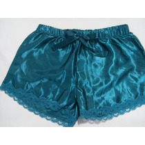 Shorts Pijama Cetim Turquesa Com Renda Tam M
