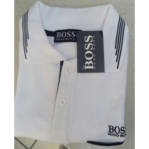 Camisa Playera Tipo Polo Hugo Boss Color Blanco Negro Casual
