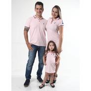 Pais E Filhos  Kit 3 Pçs Vestidos Polo E Camisa Rosa Amor