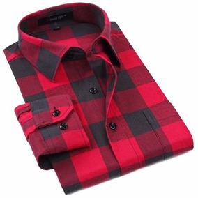 Camisa Flanela Masculina Xadrez Vermelha Preta Lenhador