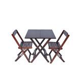 Jogos De Mesa Bar 70x70 Com 2 Cadeiras Dobrável Em Madeira