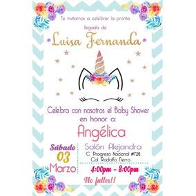 Invitacion Imprimible Personalizada Baby Shower De Unicornio