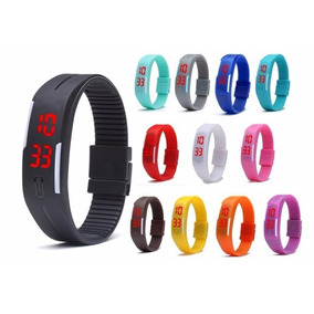 Reloj Pulsera Con Boton Silicon De Colores Nuevos