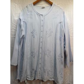 Camisa Celeste Dama,marca Hindu Fashion,100%rayon,bordada