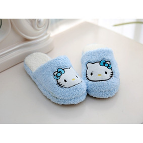 Pantufa Chinelo Pelúcia Hello Kitty Azul Adulto Importado