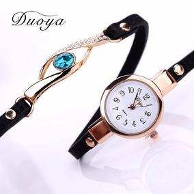 Relógio Dourado Feminino Bracelete C/ Pingente De Pedra Azul