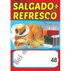 Banner 50x70 Salgados, Caldos, Morango Ao Leite, Sacolé