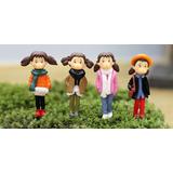 4 Pç Terrários Mini Jardim Pessoas 4 Lindas Miniatura 4 Cm