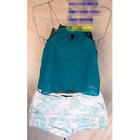Blusa Verde Azulado Y Short Floreado