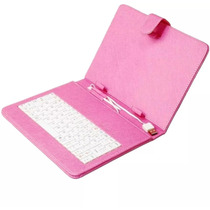 Capa Case Couro C/ Teclado Usb P/ Tablet 10.1 Polegadas Rosa