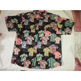 Camisas Hawaianas Caballeros Etiquet Negra Talla Xl 2xl 3xl