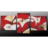 Cuadros Modernos Flores Tripticos Pintados A Mano Texturados