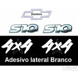 Emblemas Laterais S10 + Gravata + 4x4 Brancos - 1995 À 1999