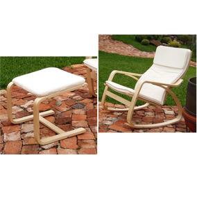 Kit Cadeira Balanço + Apoio Para Pés Pernas Estofado Madeira