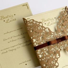 Convite De Casamento Dourado + Envelope Cortado A Laser