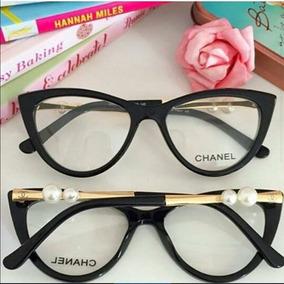Armação De Óculos De Grau Gatinho C/ Pérola Haste C/ Brinde