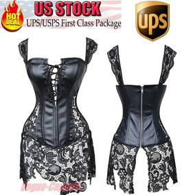 Black Lace Dress - 3xl - Mujeres Sexy Overbust Mini Fal-2246
