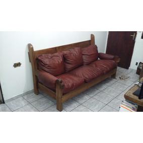 conjunto sof rstico madeira almofadas couro