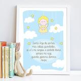 Quadro Quarto Infantil Anjinhos Oração Santo Anjo Fundo Azul