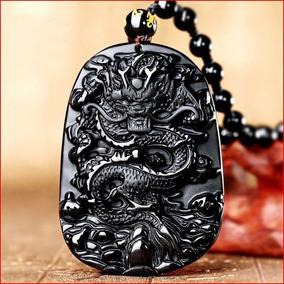 Amuleto Da Sorte Dragão Chinês Em Pedra Obsidiana Negra