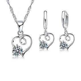 Set Collar Y Aretes Plata .925 Corazón Dama Zirconia Joya