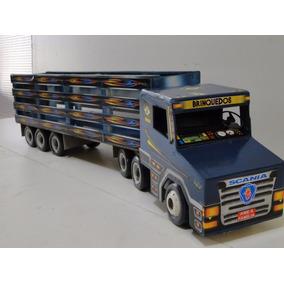 New Caminhão Madeira Brinquedo Scania Miniatura Carreta