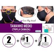 2 Máscaras Tecido - Tamanho Médio -tripla Camada Padrão Oms