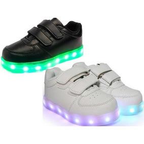 Zapatillas Abrojo Blanco Y Negro Con Luces Calzados Lud Led