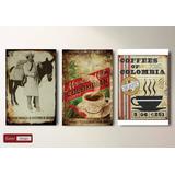 3 Cuadros Chapas Vintage Mdf - Cafe De Colombia