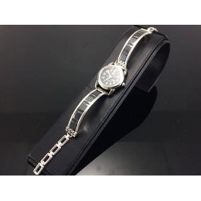 Reloj De Plata 925 Con Piedras De Zirconia Para Dama Negro