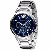 Relógio Emporio Armani Ar2448 Aço Escovado Azul Original