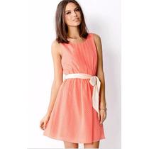 Vestido Color Durazno Con Puntos Beige Forever 21