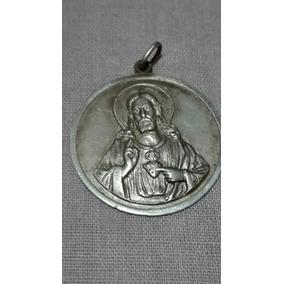 Sagrado Corazón De Jesús.medalla Hermosa.plata 900.28 Mm.