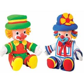 02 Palhaço Boneco Patati E Patatá Original Brinquedo 35 Cm.