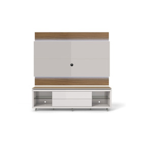 Rack Com Painel Lincoln C/ Led Off-white/natural 195cm