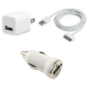 Kit Cargador 3 En 1 Carro Cable Iphone 2g 3gs 4 4s Ipad Ipod