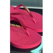 Chinelo Pink Glitter Letreiro Colcci
