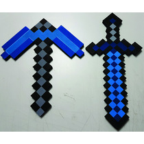 2 Espada E 1 Picareta Do Jogo Minecraft Pronta Entrega