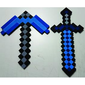 Espada E Picareta Do Jogo Minecraft Pronta Entrega