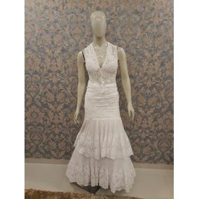 Vestido Noiva Branco Sereia Chifon Plissado Cn-35