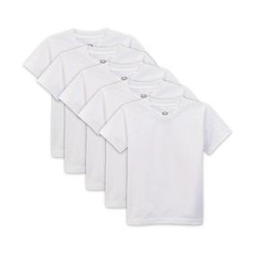 Remera Cuello A La Base Para Niño Pack 5 Unidades Blancas