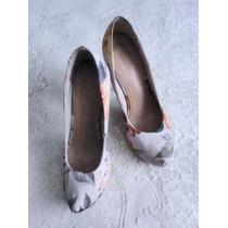 Sapato Scarpin Floral Meia Pata