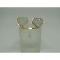 Glitter Joias - Anel Em Ouro 18k Coração Com Drusa